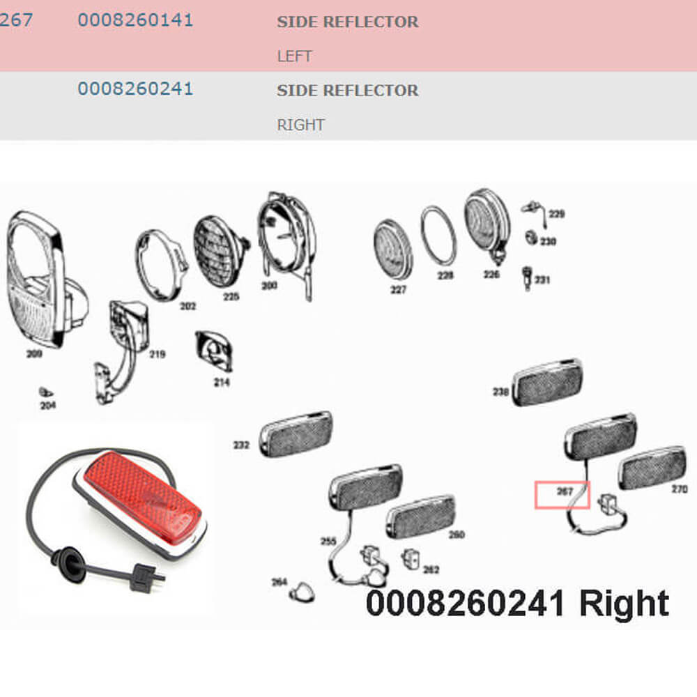 Lai Kam Wah Sdn. Bhd. Specialist in VW Aircooled Parts - 0008260241 - Side Reflector – Right