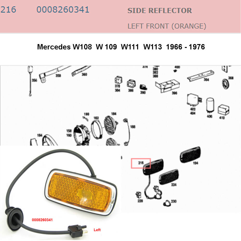 Lai Kam Wah Sdn. Bhd. Specialist in VW Aircooled Parts - 0008260341 - Side Reflector - Left
