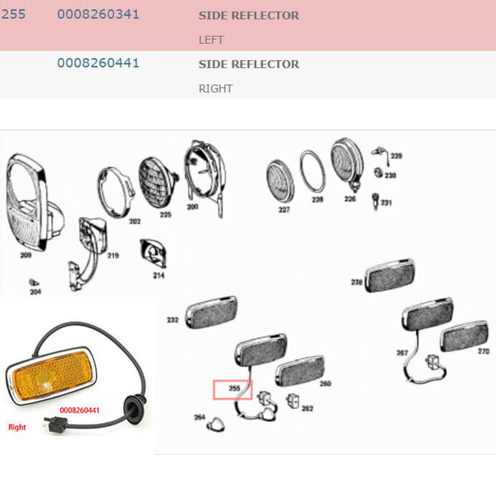 Lai Kam Wah Sdn. Bhd. Specialist in VW Aircooled Parts - 0008260441 - Side Reflector - Right