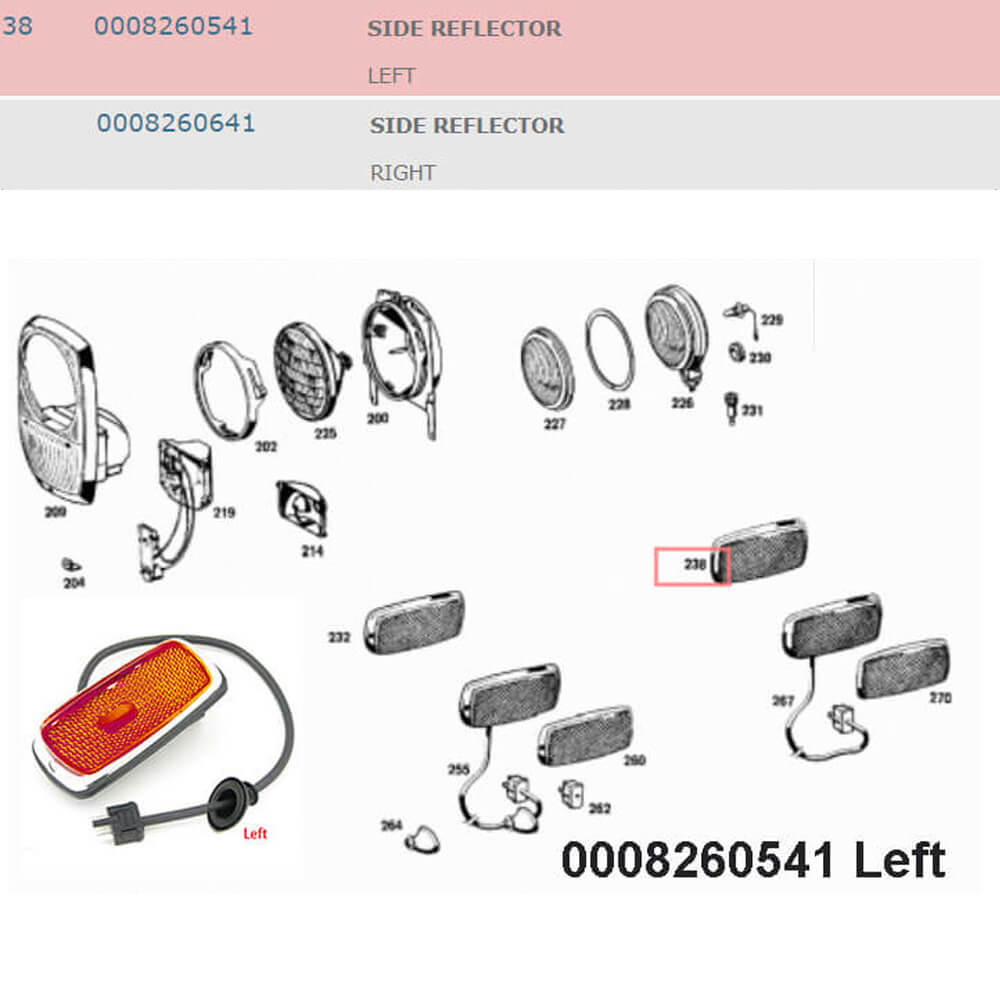 Lai Kam Wah Sdn. Bhd. Specialist in VW Aircooled Parts - 0008260541 - Side Reflector - Left