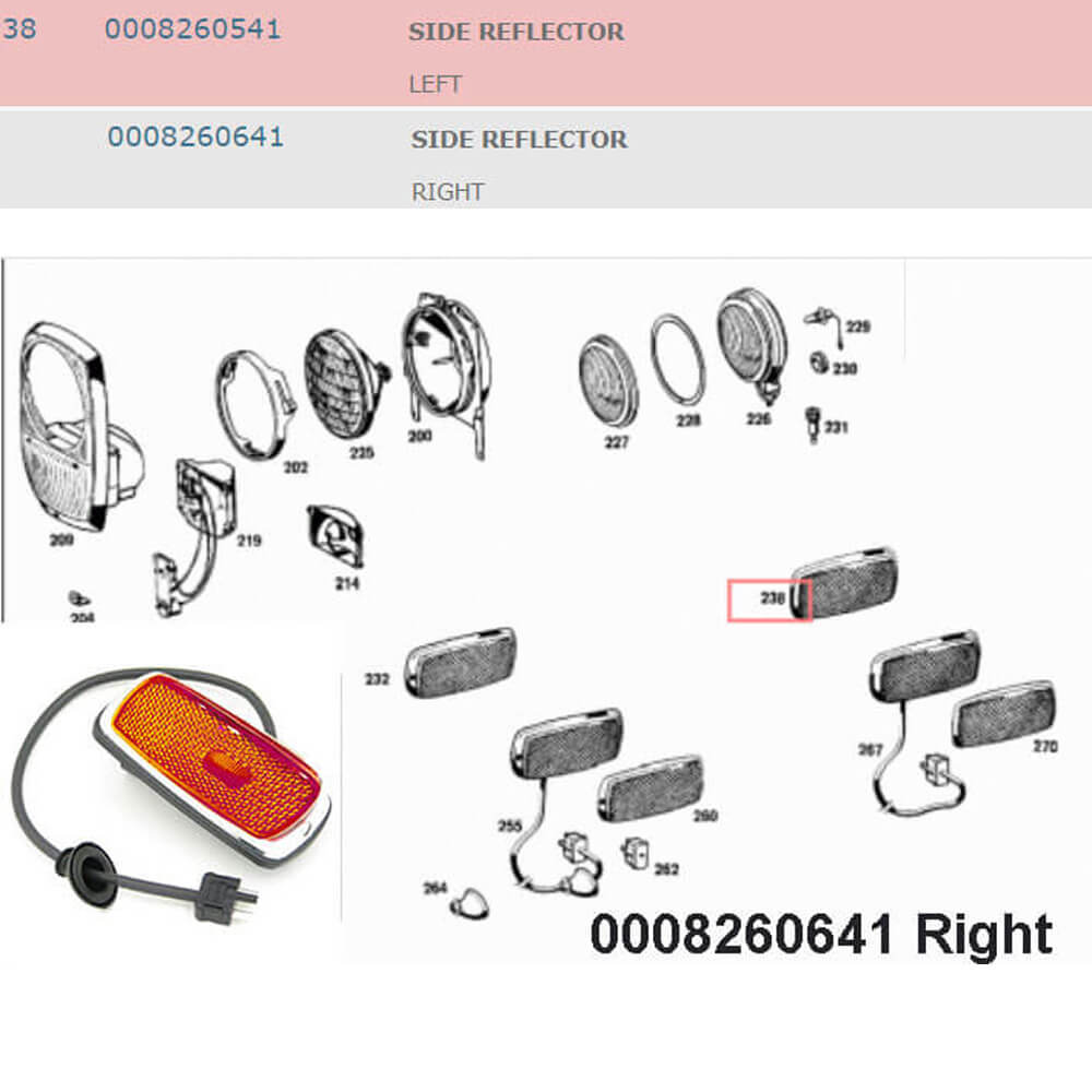 Lai Kam Wah Sdn. Bhd. Specialist in VW Aircooled Parts - 0008260641 - Side Reflector - Right