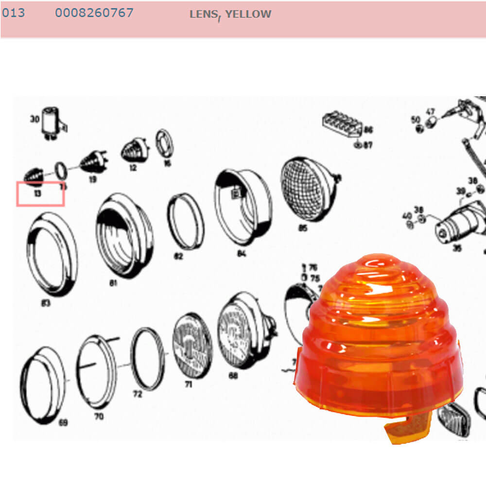 Lai Kam Wah Sdn. Bhd. Specialist in VW Aircooled Parts - 0008260767 - Lens - Yellow