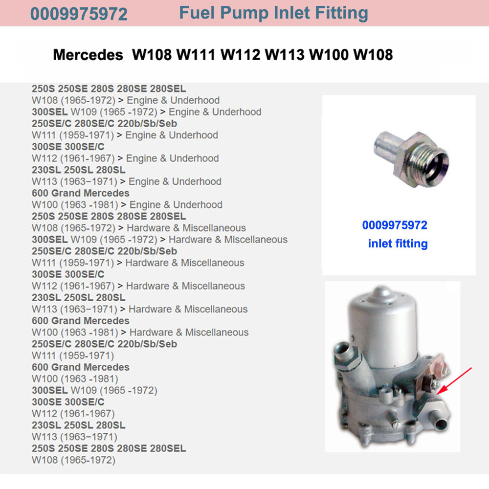 Lai Kam Wah Sdn. Bhd. Specialist in VW Aircooled Parts - 0009975972 - Fuel Pump Inlet Fitting