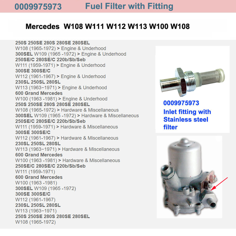 Lai Kam Wah Sdn. Bhd. Specialist in VW Aircooled Parts - 0009975973 - Fuel Filter With Fitting