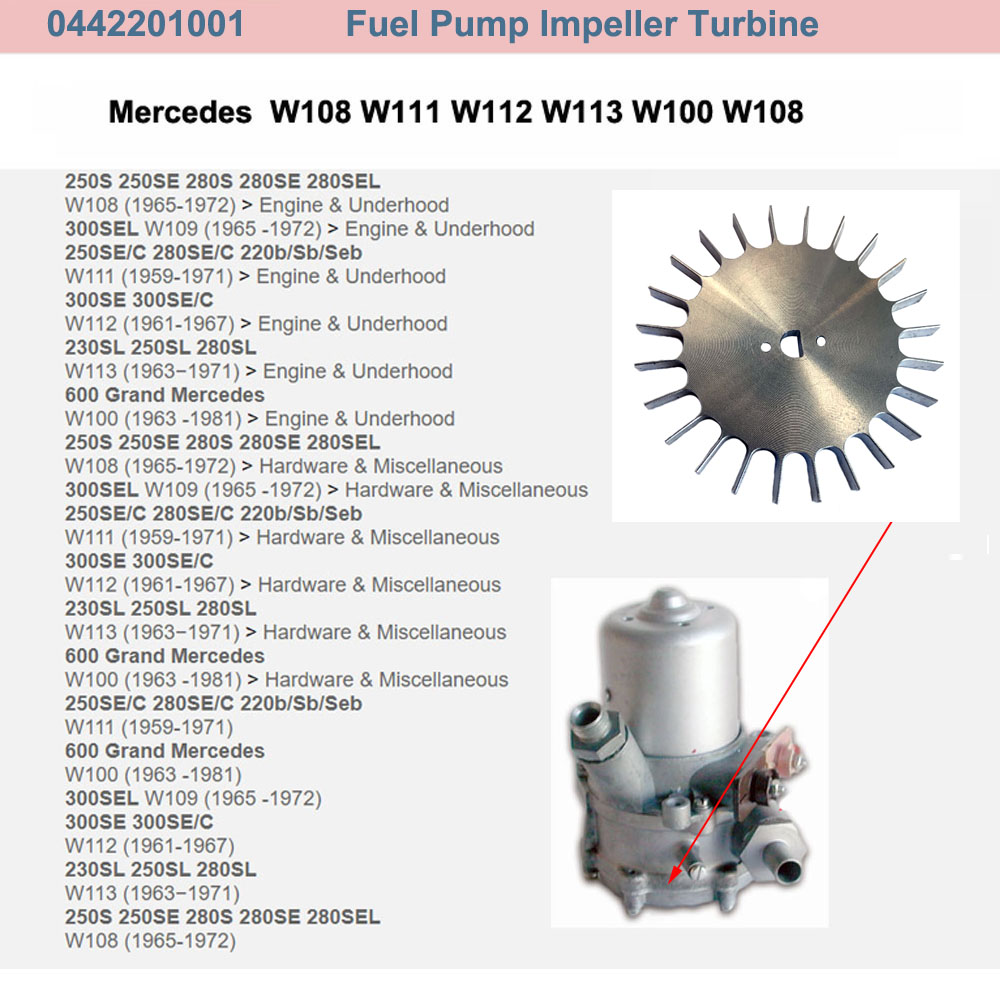 Lai Kam Wah Sdn. Bhd. Specialist in VW Aircooled Parts - 0442201001 - Fuel Pump Impeller Turbine
