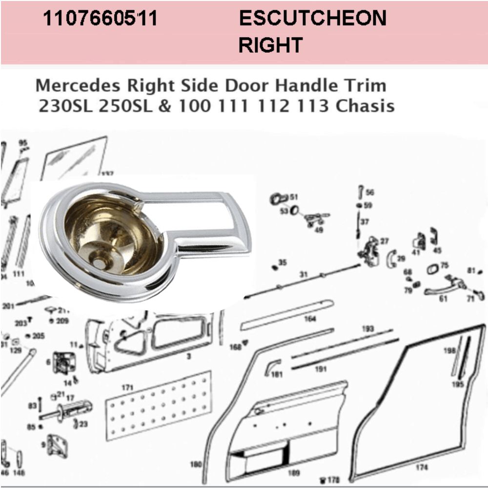 Lai Kam Wah Sdn. Bhd. Specialist in VW Aircooled Parts - 1107660511 - Escutcheon - Left