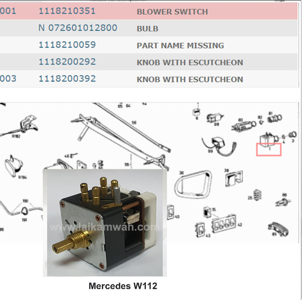 Lai Kam Wah Sdn. Bhd. Specialist in VW Aircooled Parts - 1118210351 - Blower Switch
