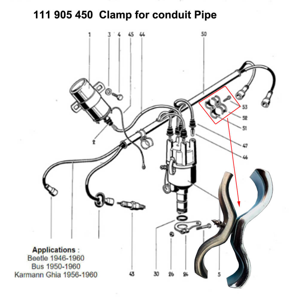 Lai Kam Wah Sdn. Bhd. Specialist in VW Aircooled Parts - 111905450 - Clamp For Conduit Pipe