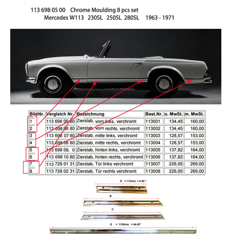 Lai Kam Wah Sdn. Bhd. Specialist in VW Aircooled Parts - 1136980500 - Chrome Moulding 8 Pcs Set