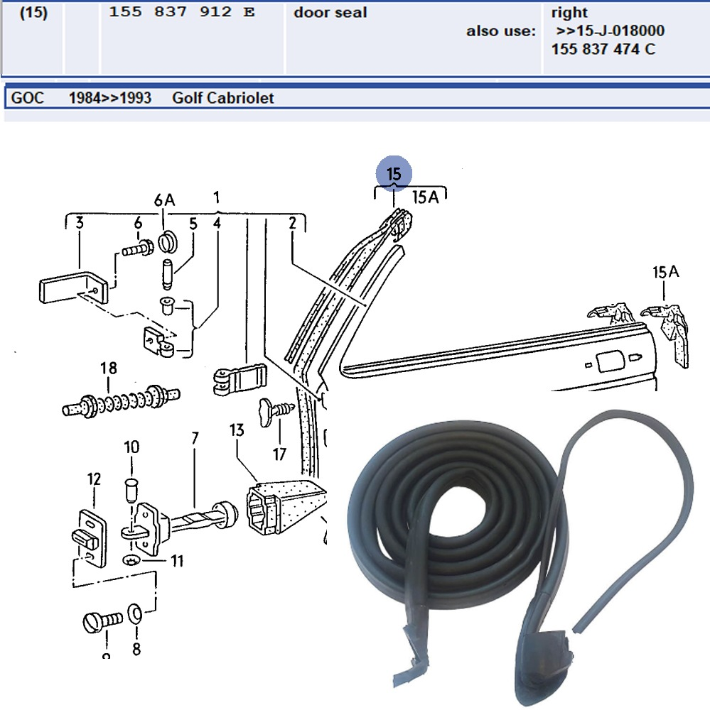 Lai Kam Wah Sdn. Bhd. Specialist in VW Aircooled Parts - 155837912E - Door Seal