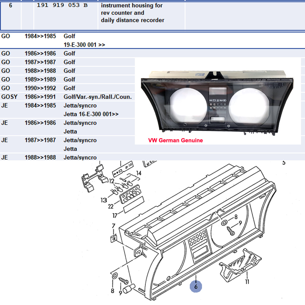 Lai Kam Wah Sdn. Bhd. Specialist in VW Aircooled Parts - 191919053B - Instrument Housing