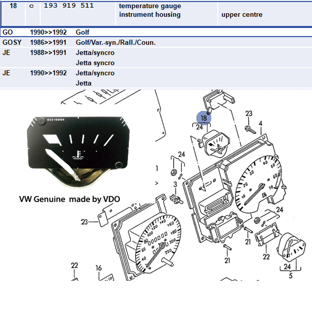 Lai Kam Wah Sdn. Bhd. Specialist in VW Aircooled Parts - 193919511 - temperature gauge Instrument Housing