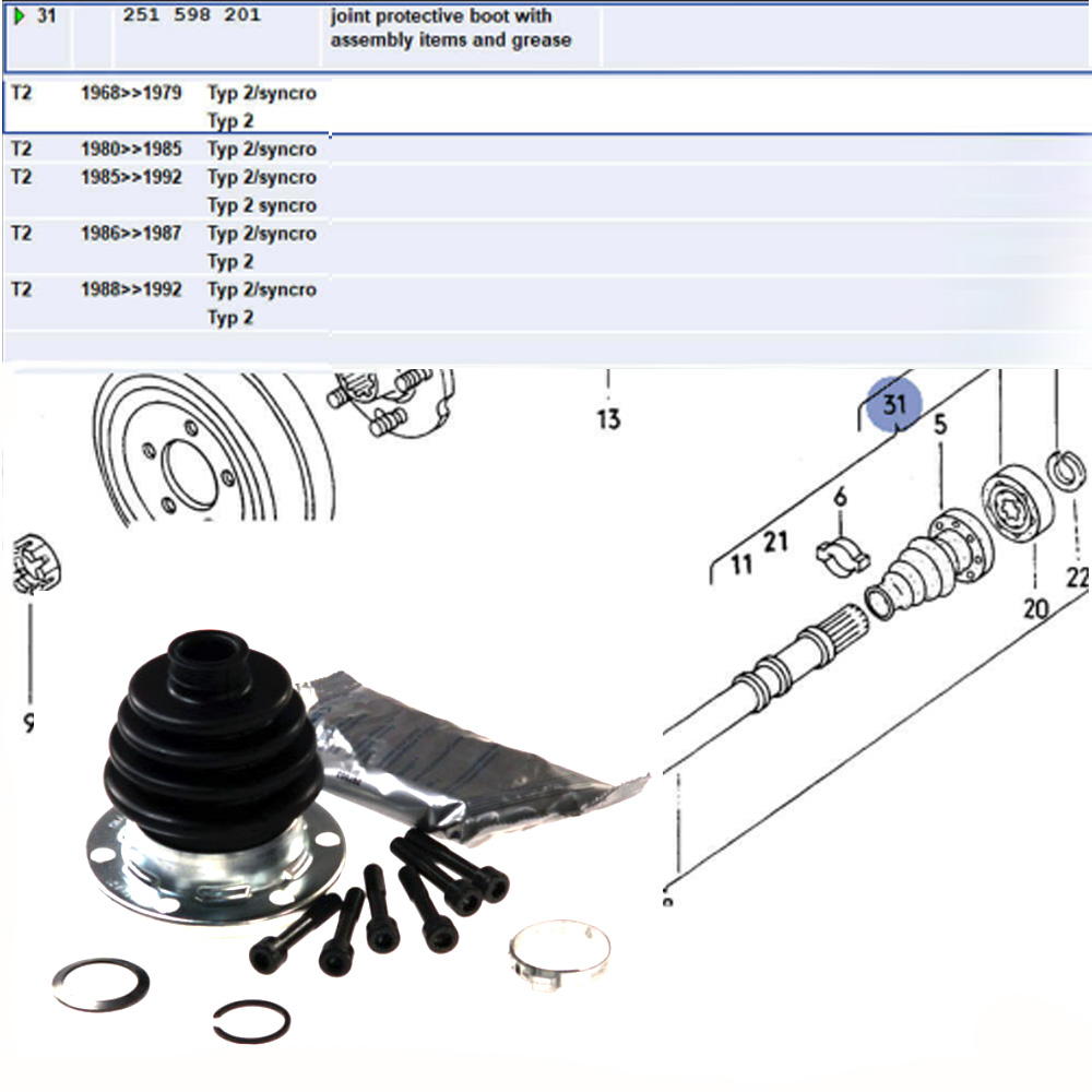 Lai Kam Wah Sdn. Bhd. Specialist in VW Aircooled Parts - 251598201 - AXLE BOOT KIT