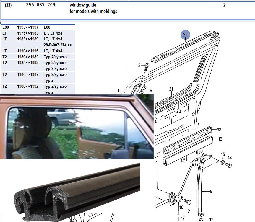 Lai Kam Wah Sdn. Bhd. Specialist in VW Aircooled Parts - 255837709 - Window guide for T25 with moldings