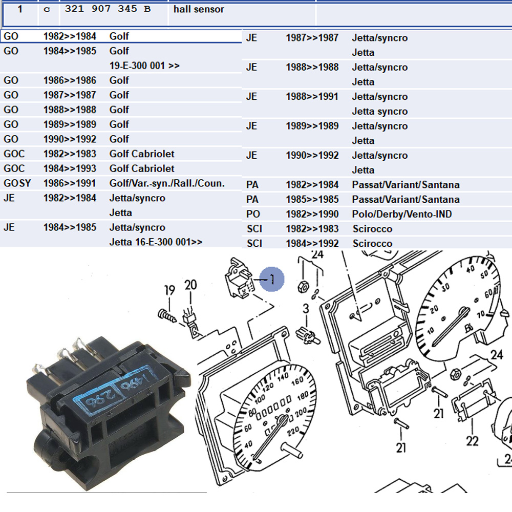 Lai Kam Wah Sdn. Bhd. Specialist in VW Aircooled Parts - 321907345B - Hall Sensor