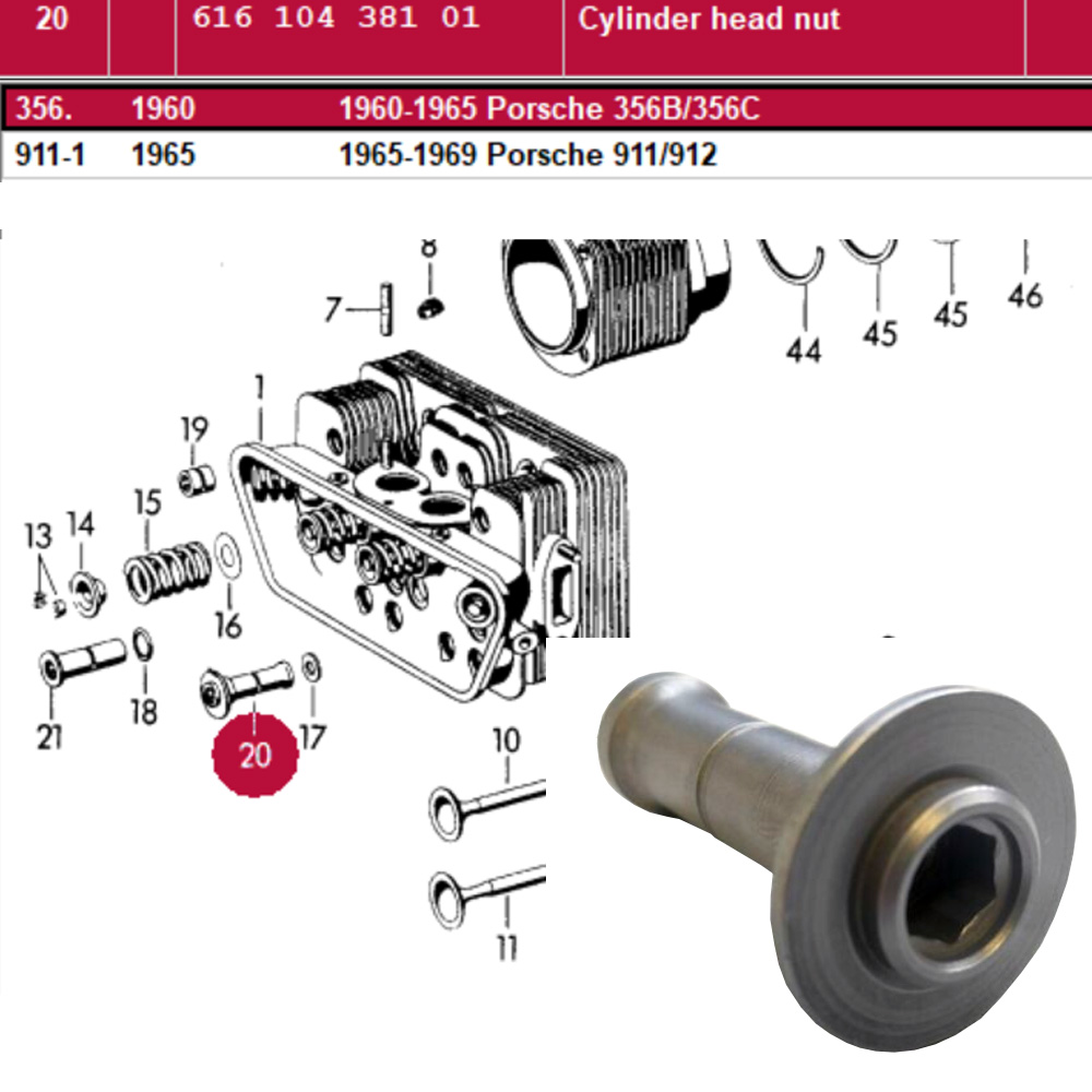 Lai Kam Wah Sdn. Bhd. Specialist in VW Aircooled Parts - 61610438101 - Cylinder Head Nut