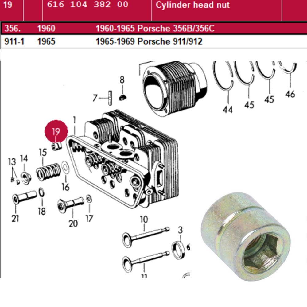 Lai Kam Wah Sdn. Bhd. Specialist in VW Aircooled Parts - 61610438200 - Cylinder Head Nut