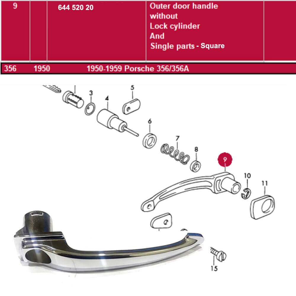 Lai Kam Wah Sdn. Bhd. Specialist in VW Aircooled Parts - 64452020 - Outer Door Handle Without Lock Cylinder - Square