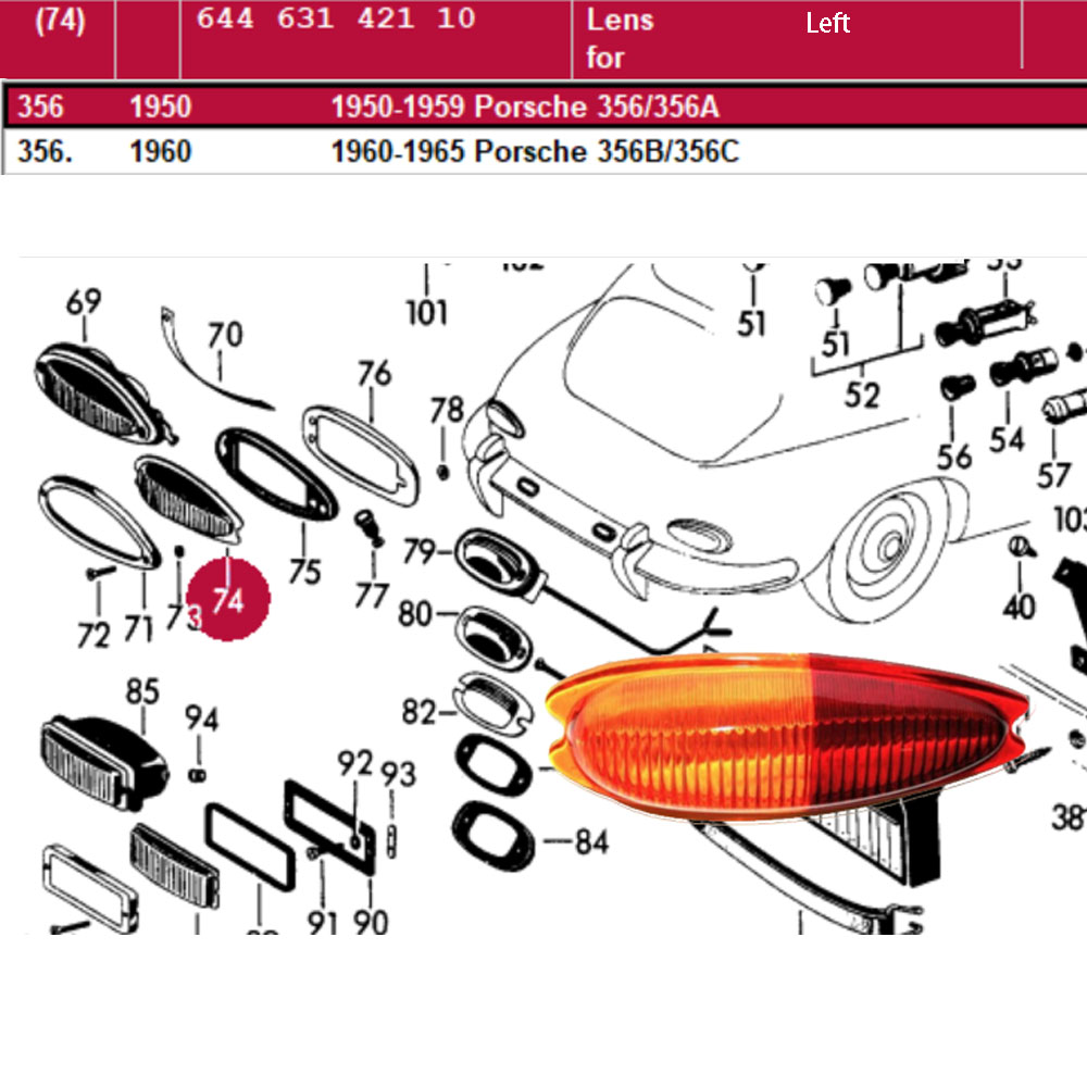Lai Kam Wah Sdn. Bhd. Specialist in VW Aircooled Parts - 64463142110 - Lens - Left