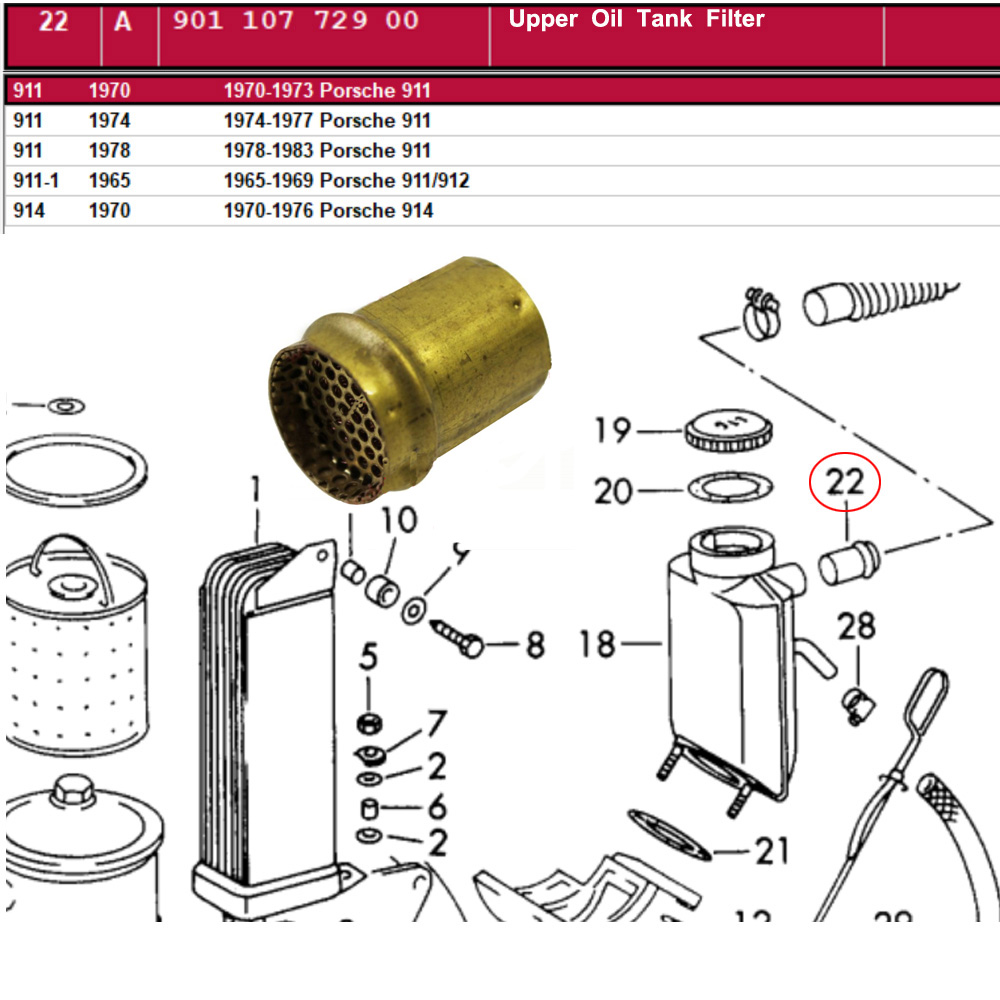 Lai Kam Wah Sdn. Bhd. Specialist in VW Aircooled Parts - 90110772900 - Upper Oil Tank Filter