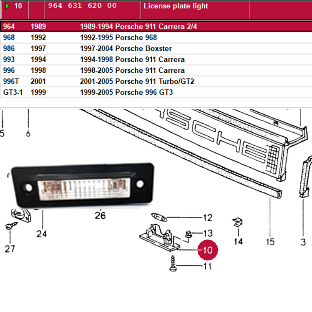 Lai Kam Wah Sdn. Bhd. Specialist in VW Aircooled Parts - 96463162000 - License Plate Light
