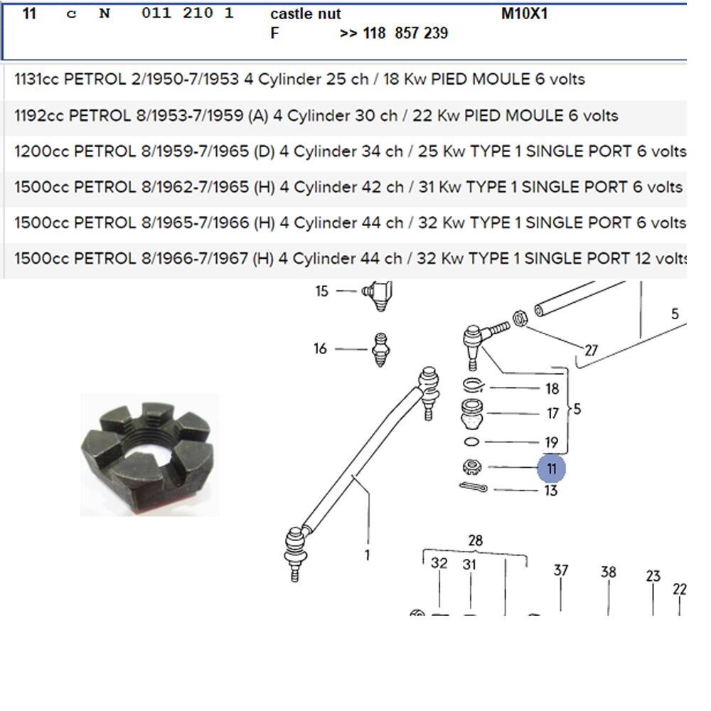 Lai Kam Wah Sdn. Bhd. Specialist in VW Aircooled Parts - N0112101 - Castle Nut