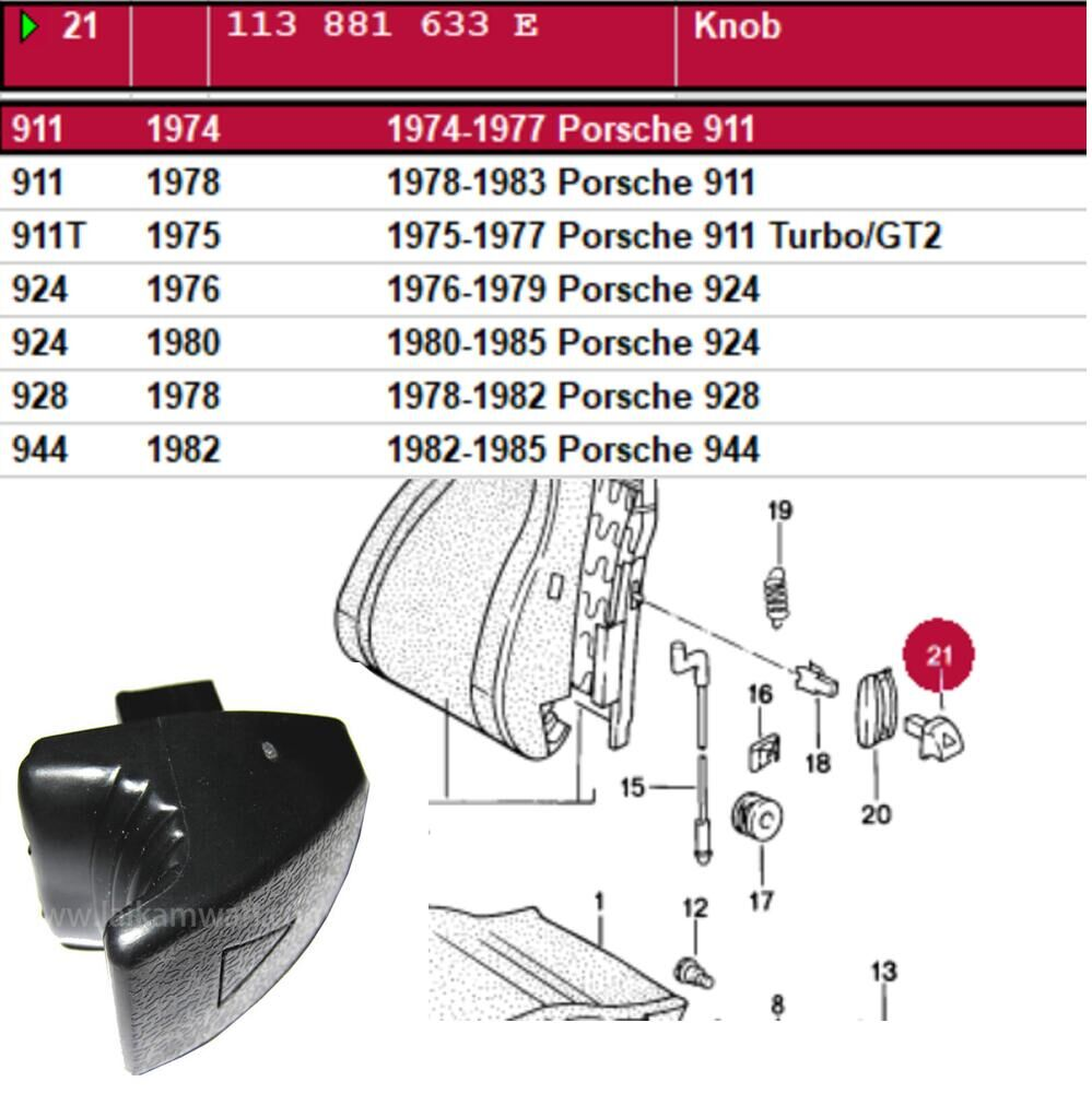 Lai Kam Wah Sdn. Bhd. Specialist in VW Aircooled Parts - 113881633E - Knob