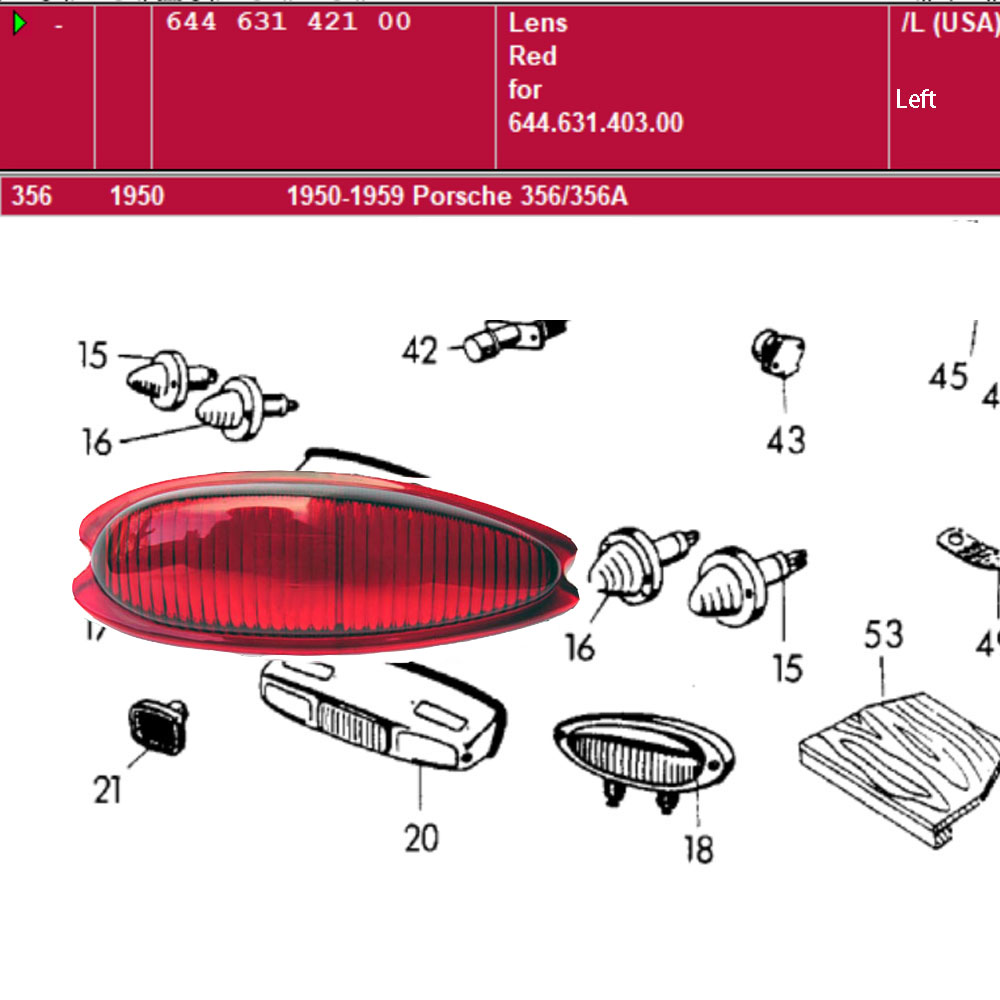 Lai Kam Wah Sdn. Bhd. Specialist in VW Aircooled Parts - 64463142100 - Lens Red