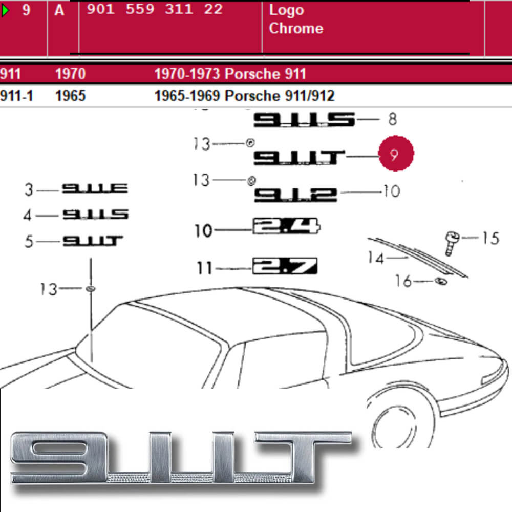 Lai Kam Wah Sdn. Bhd. Specialist in VW Aircooled Parts - 90155931122 - Logo Chrome 911T