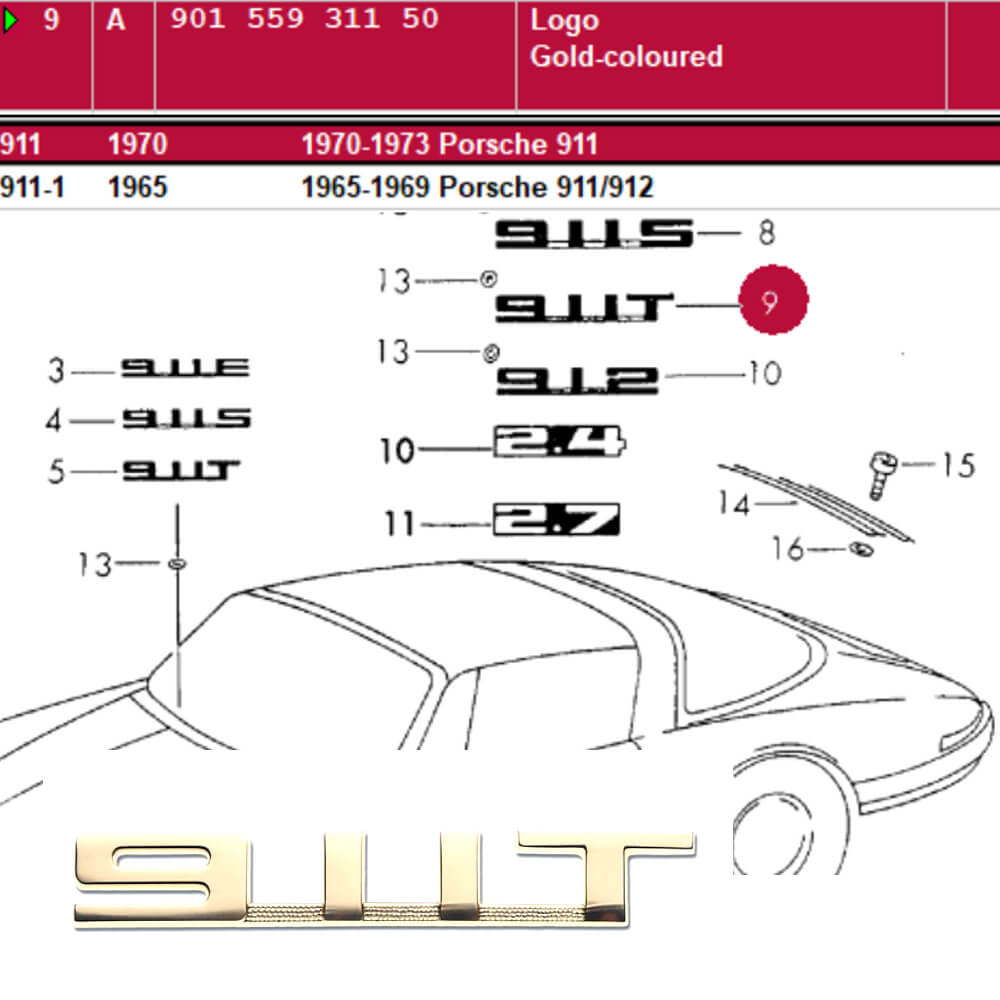 Lai Kam Wah Sdn. Bhd. Specialist in VW Aircooled Parts - 90155931150 - Logo Gold 911T