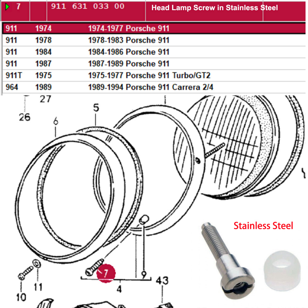 Lai Kam Wah Sdn. Bhd. Specialist in VW Aircooled Parts - 91163103300 - Head Lamp Screw