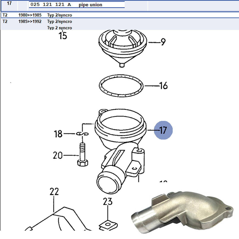 Lai Kam Wah Sdn. Bhd. Specialist in VW Aircooled Parts - 025121121A - Pipe Union