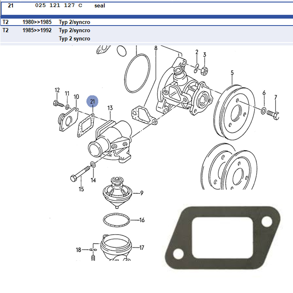 Lai Kam Wah Sdn. Bhd. Specialist in VW Aircooled Parts - 025121127C - Seal