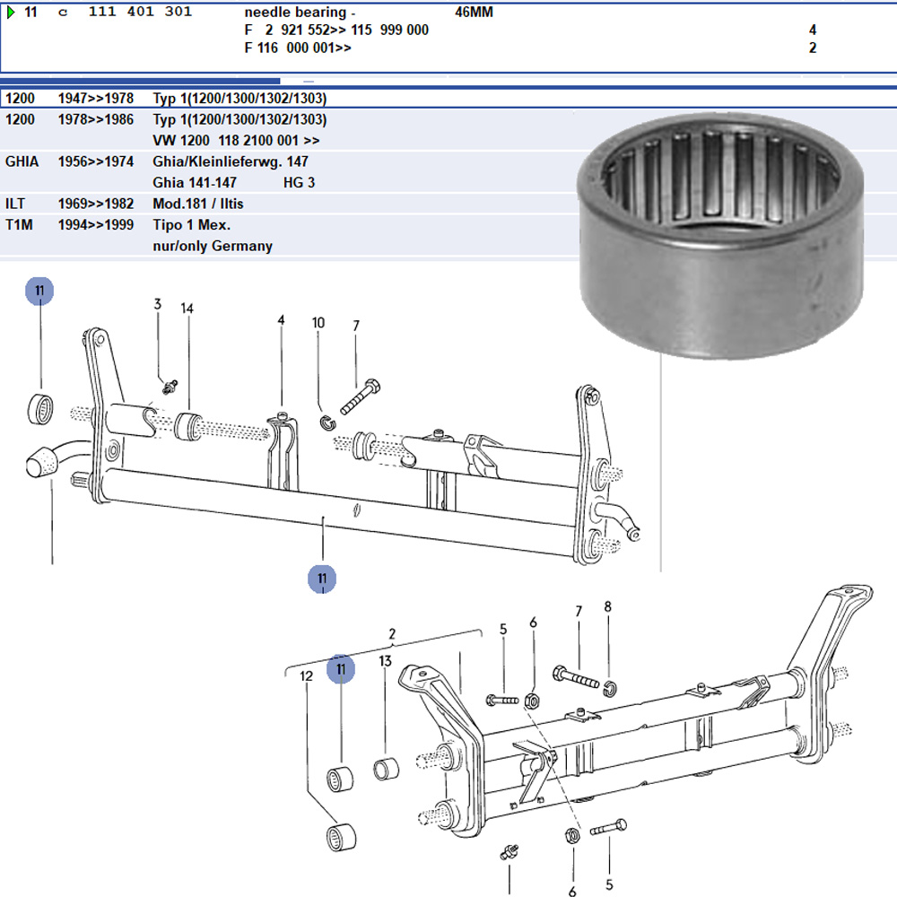 Lai Kam Wah Sdn. Bhd. Specialist in VW Aircooled Parts - 111401301 - Needle Bearing