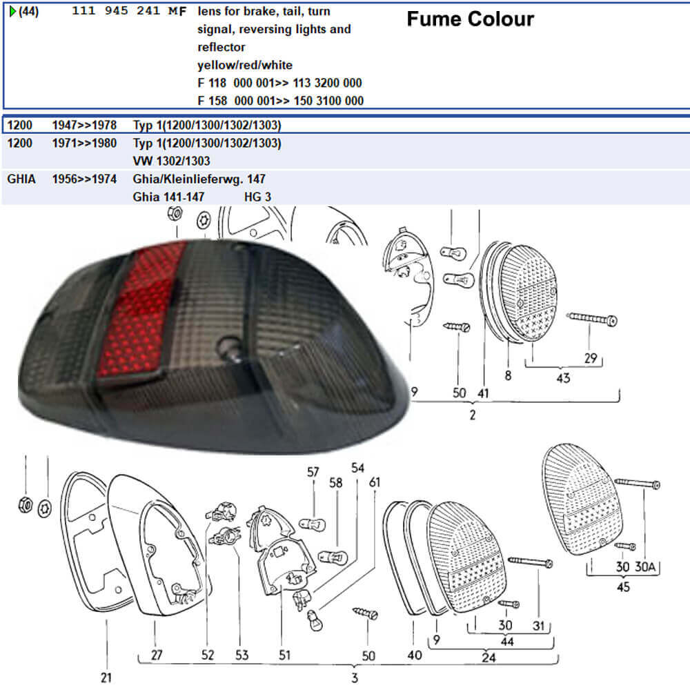 Lai Kam Wah Sdn. Bhd. Specialist in VW Aircooled Parts - 111945241MF - Tail Lamp Lens Fume Colour