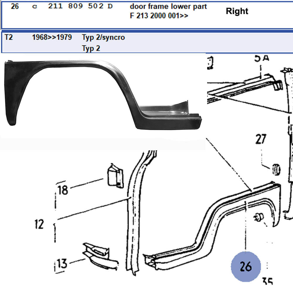 Lai Kam Wah Sdn. Bhd. Specialist in VW Aircooled Parts - 211809502D - Door Frame Lower - Right