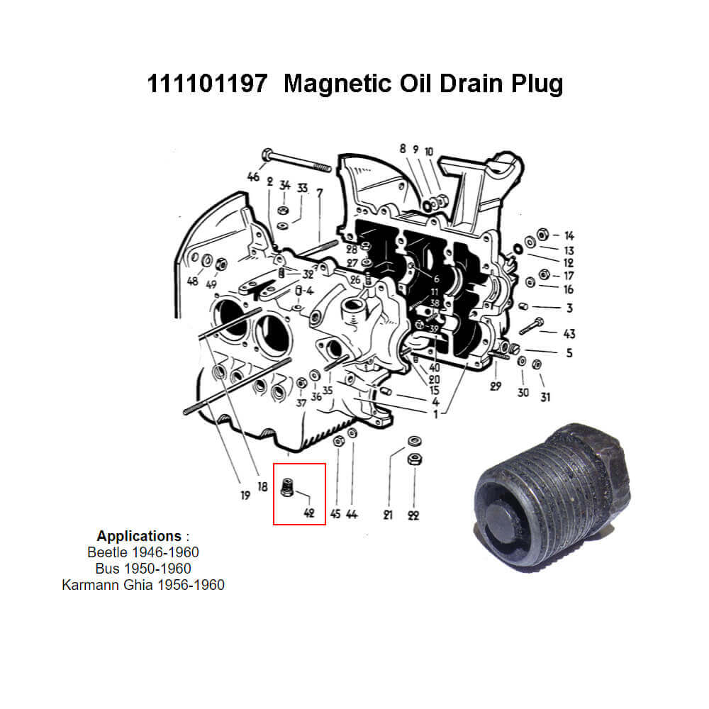 Lai Kam Wah Sdn. Bhd. Specialist in VW Aircooled Parts - 111101197 - Oil Drain Plug - Magnetic