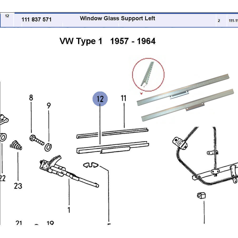 Lai Kam Wah Sdn. Bhd. Specialist in VW Aircooled Parts - 111837571 - Window Lift Channel