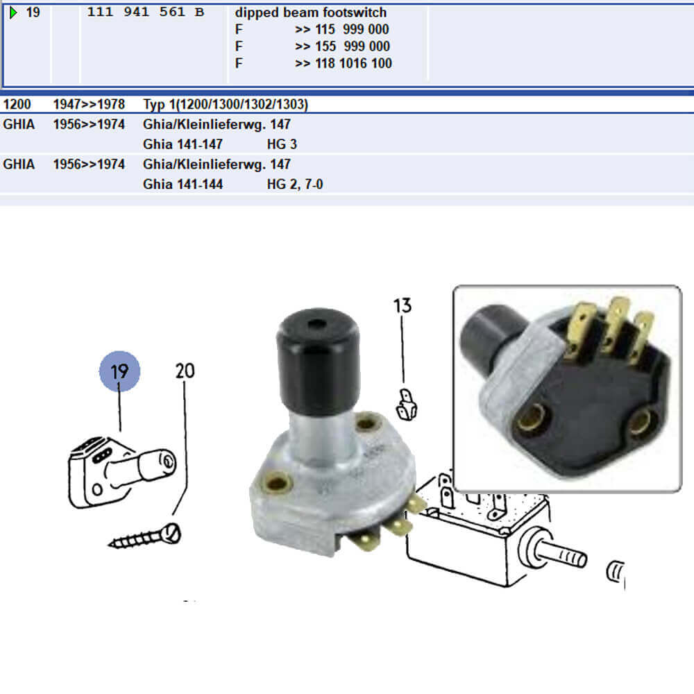 Lai Kam Wah Sdn. Bhd. Specialist in VW Aircooled Parts - 111941561B - HEADLIGHT DIMMER SWITCH