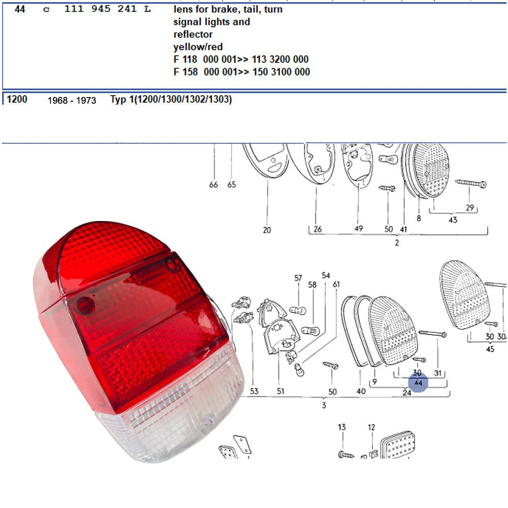 Lai Kam Wah Sdn. Bhd. Specialist in VW Aircooled Parts - 111945241L - Tail Lamp Lens