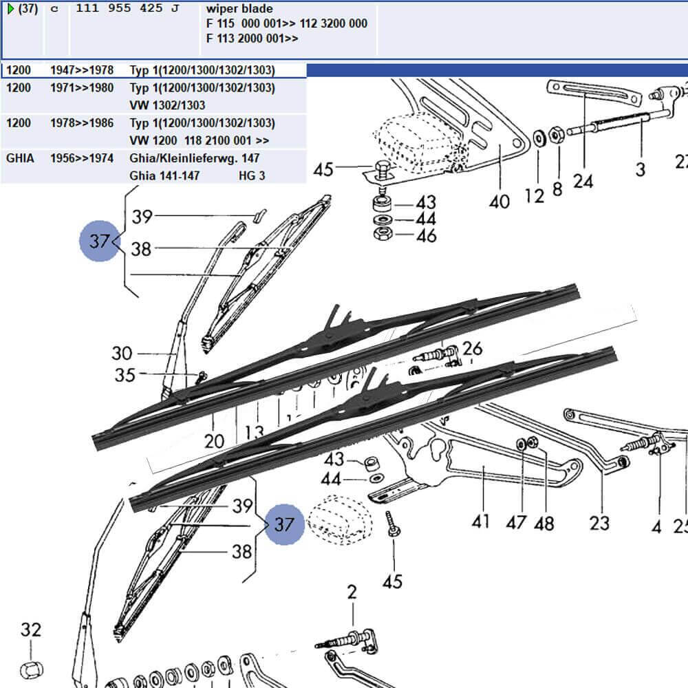 Lai Kam Wah Sdn. Bhd. Specialist in VW Aircooled Parts - 111955425J - Wiper Blade