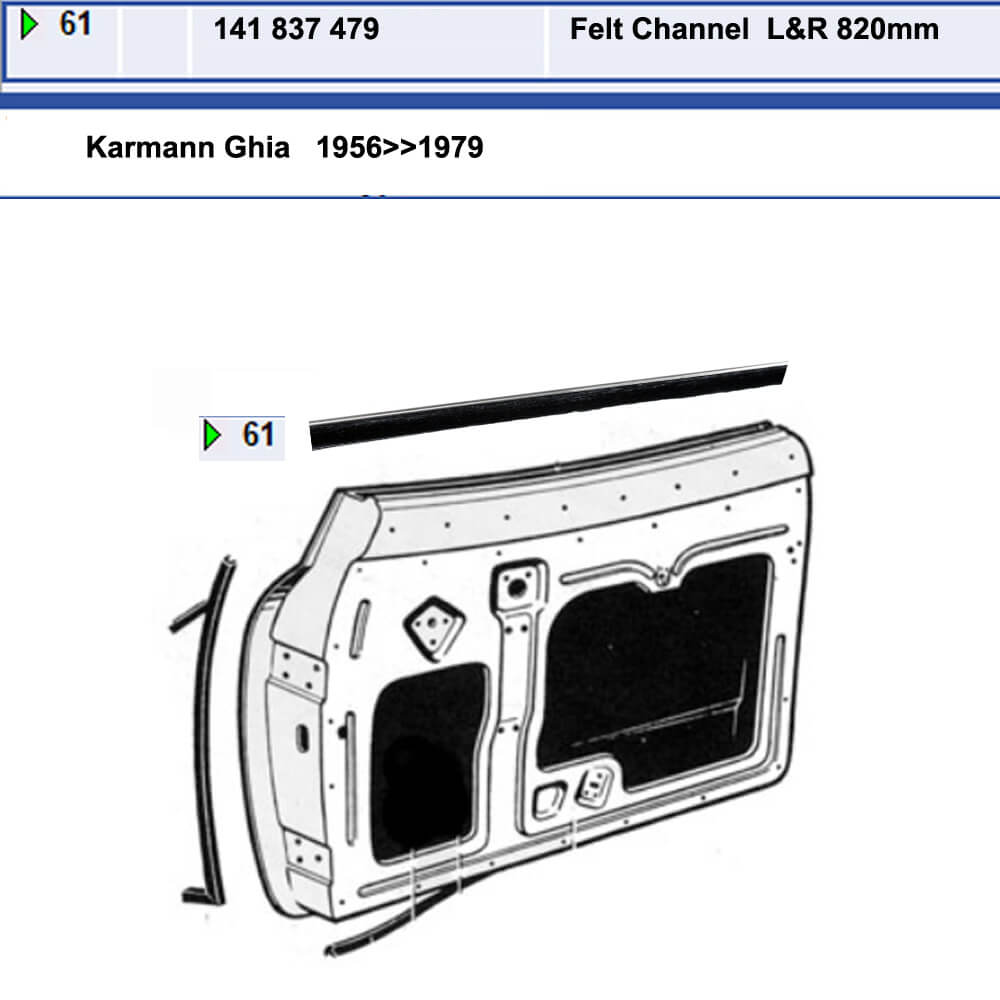 Lai Kam Wah Sdn. Bhd. Specialist in VW Aircooled Parts - 141837479 - Felt Channel L&R 820mm