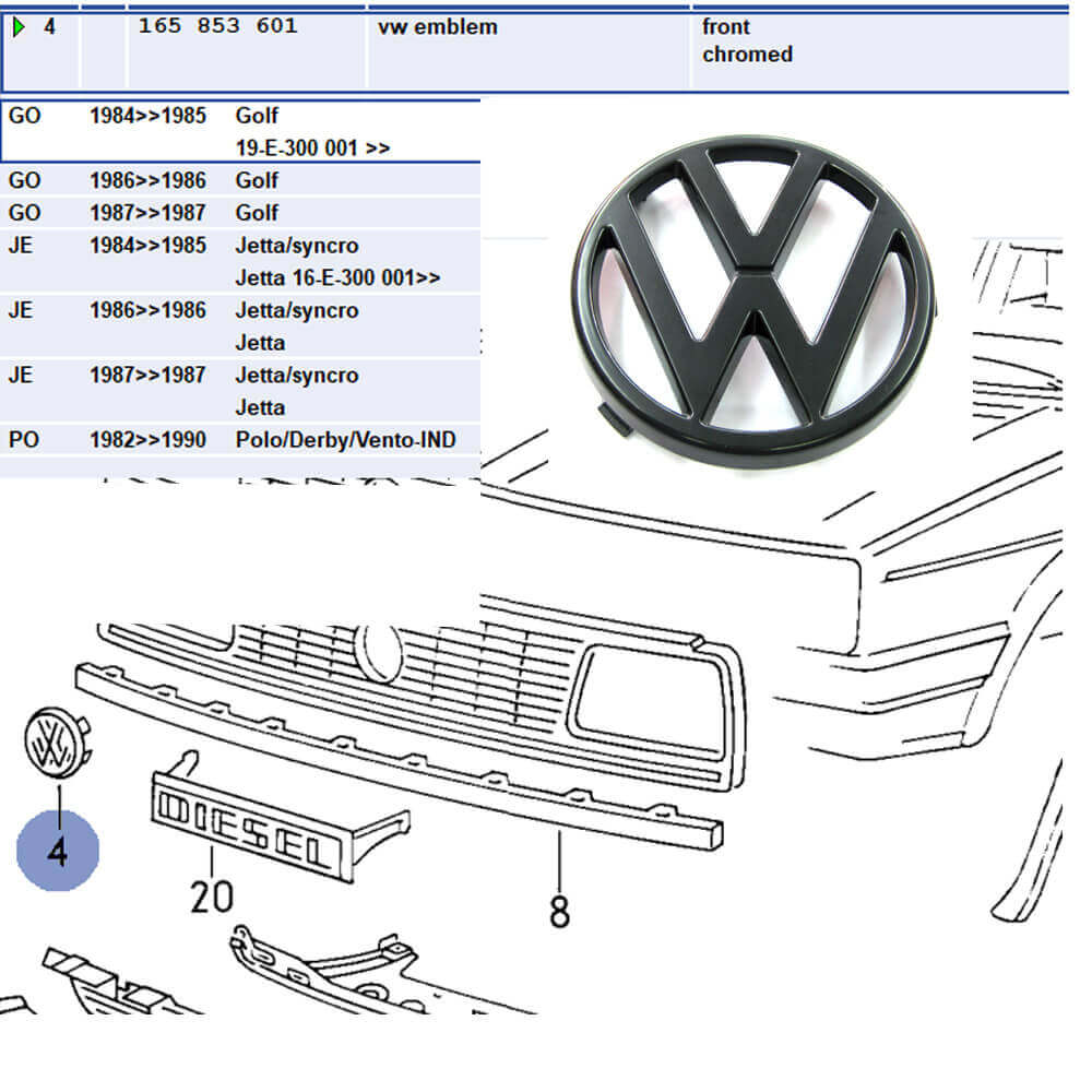 Lai Kam Wah Sdn. Bhd. Specialist in VW Aircooled Parts - 165853601 - Emblem