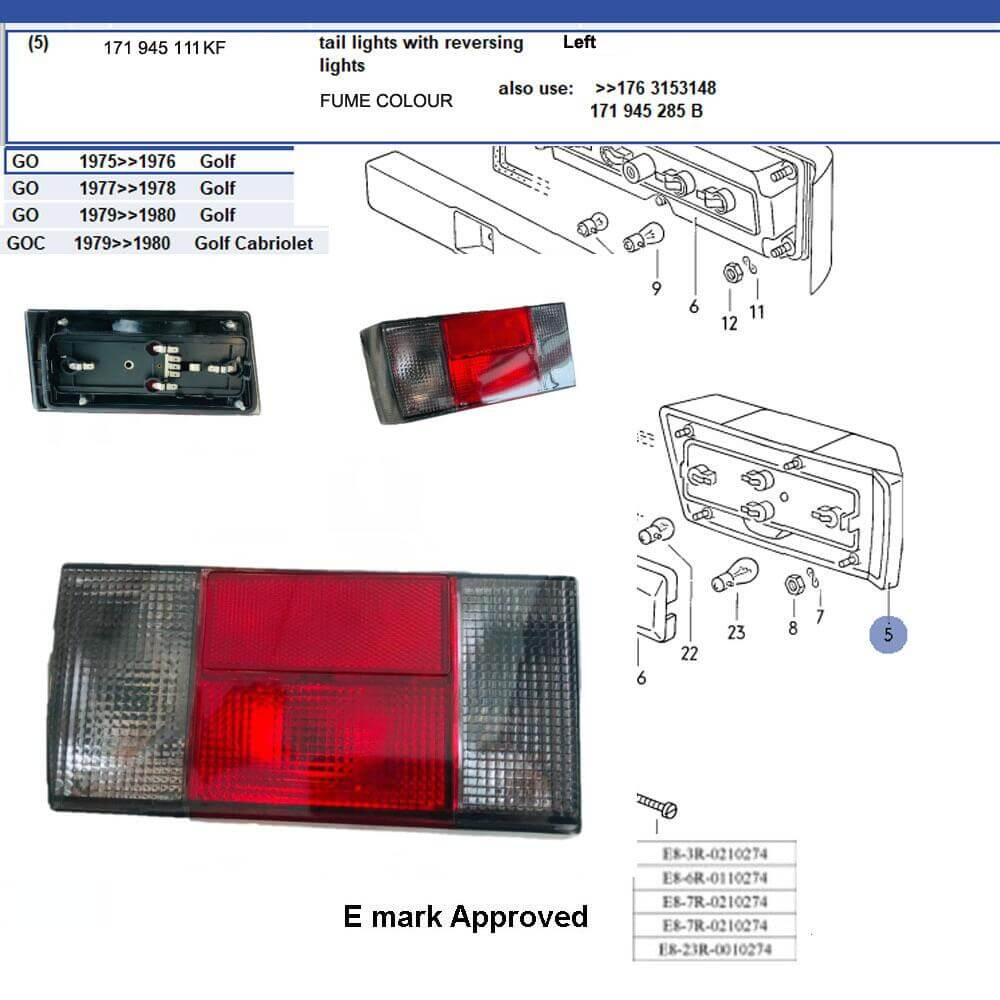 Lai Kam Wah Sdn. Bhd. Specialist in VW Aircooled Parts - 171945111KF - Tail Light Lamp - Fume colour