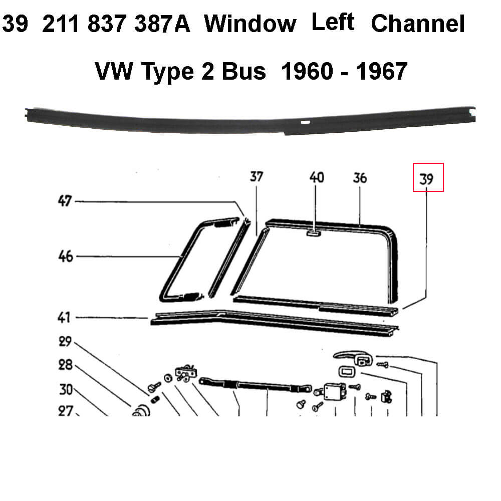 Lai Kam Wah Sdn. Bhd. Specialist in VW Aircooled Parts - 211837387A - Window Channel