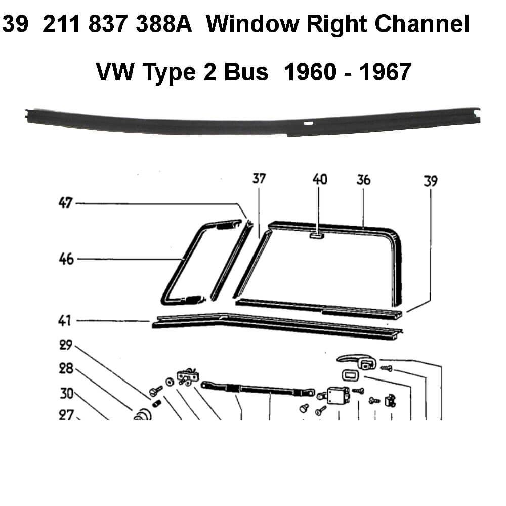 Lai Kam Wah Sdn. Bhd. Specialist in VW Aircooled Parts - 211837388A - Window Channel