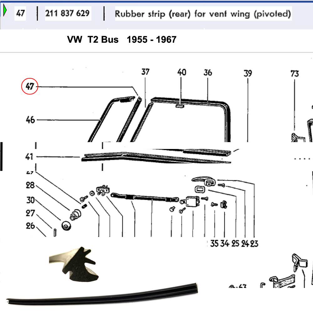 Lai Kam Wah Sdn. Bhd. Specialist in VW Aircooled Parts - 211837629 - Rubber Strip - Rear