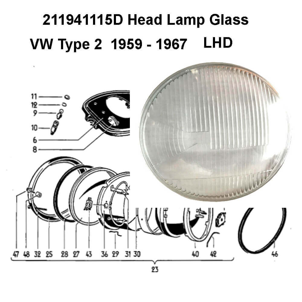 Lai Kam Wah Sdn. Bhd. Specialist in VW Aircooled Parts - 211941115D - Headlamp Glass