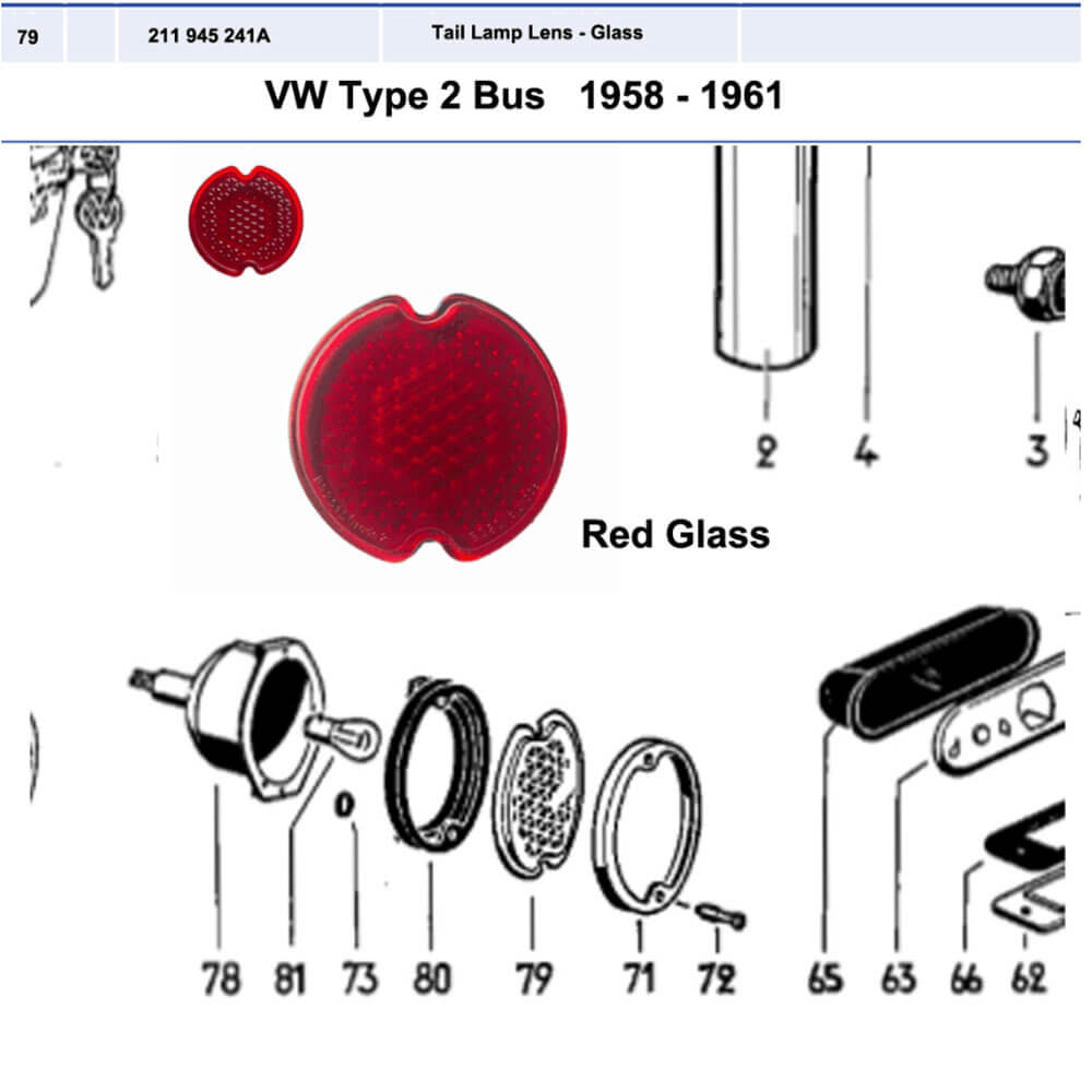 Lai Kam Wah Sdn. Bhd. Specialist in VW Aircooled Parts - 211945241A - Red Tail Light Glass Lens
