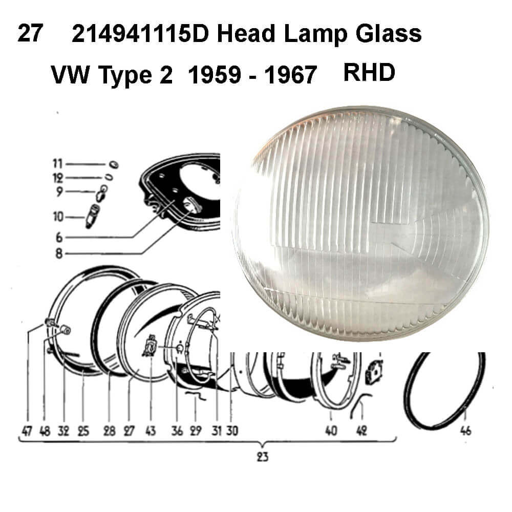 Lai Kam Wah Sdn. Bhd. Specialist in VW Aircooled Parts - 214941115D - Headlamp Glass - RHD